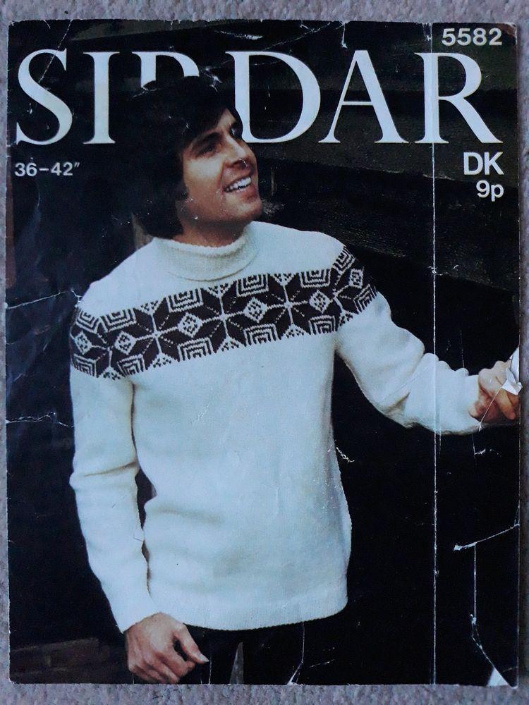 Vintage/retro knitting pattern Sirdar 5582 mens DK ...