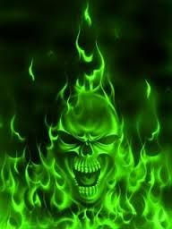 Image result for green flaming skull wallpaper | Skulls ...