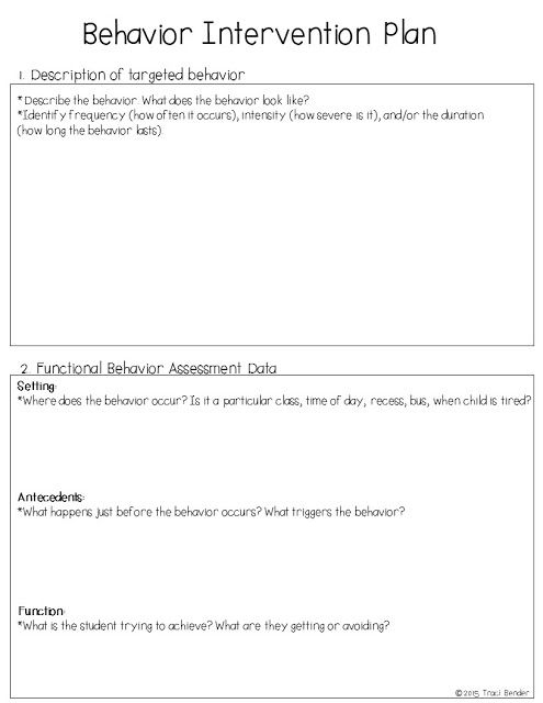 Creating a Behavior Intervention Plan (BIP) Behavior - sample behavior contract