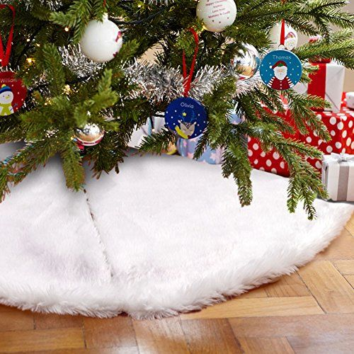 Aytai 48 inches Luxury Faux Fur Christmas Tree Skirt Soft Snow White