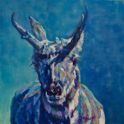 "Daily Painters Abstract Gallery: Animal Art,Big Horn Sheep Painting, ""CHEIF WASHAKIE"" by Contemporary Animal Artist Patricia A. Griffin"