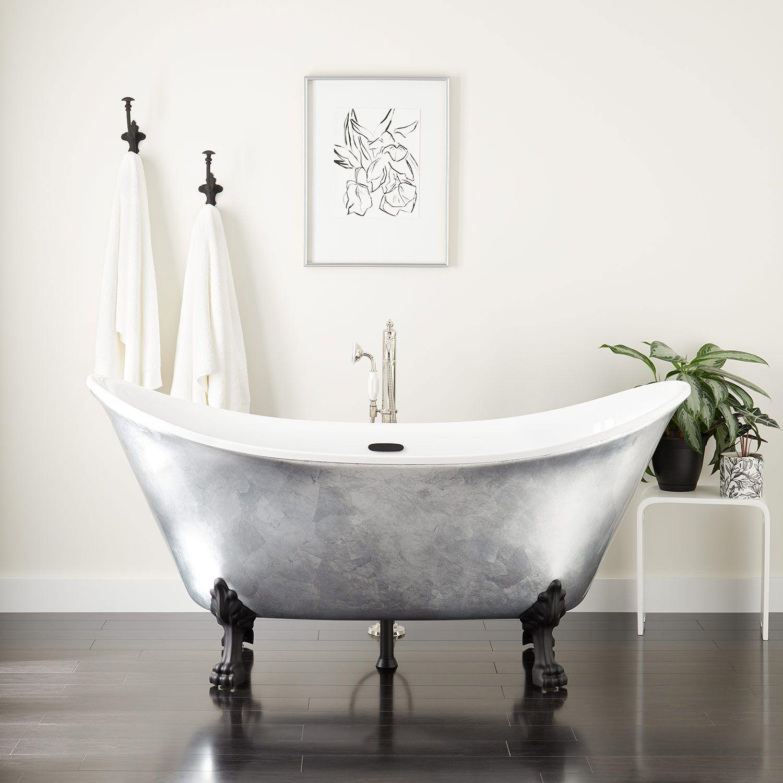 68 Brenham Acrylic Double Slipper Clawfoot Tub In Silver Leaf In
