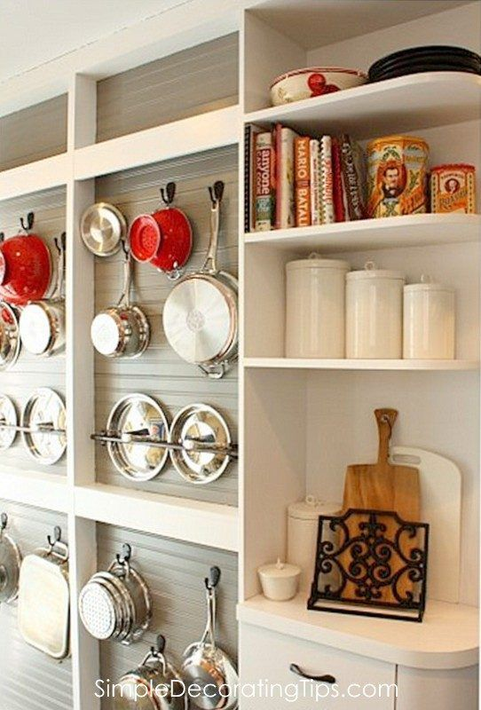 Diy Open Shelving On Wall Pot Holder With Beadboard By Simple Decorating Tips Featured Remodelaholic