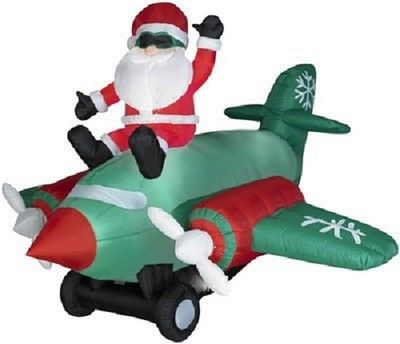 Gemmy Airblown Inflatable 7' Animated-Santa Sitting on Twin Prop Airplane