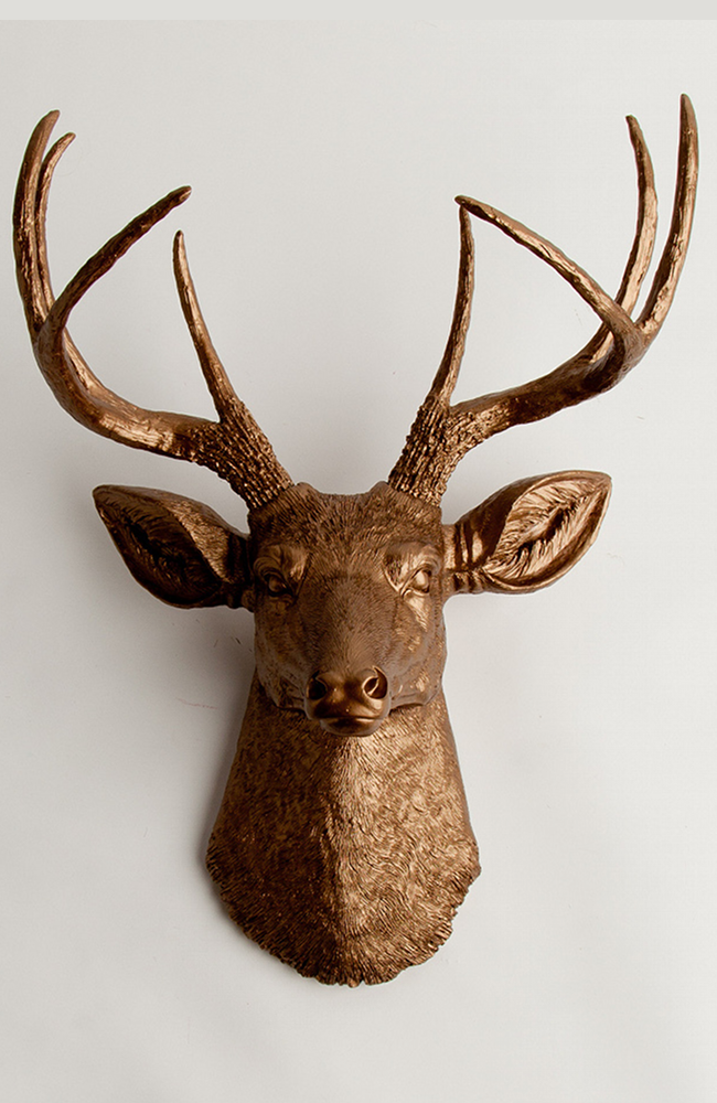 White Faux Taxidermy - The Bennett | Stag Deer Head | Faux Taxidermy | Bronze Resin, $85.00 (http://www.whitefauxtaxidermy.com/product/stag-deer-head-faux-taxidermy-bronze-resin/)