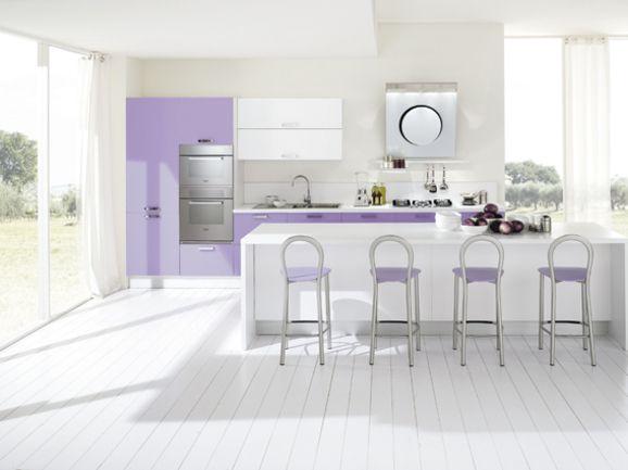 Cucine Moderne Lilla.Cucina Moderna L 420 Cm Con Penisola Centrale Anta Lucida