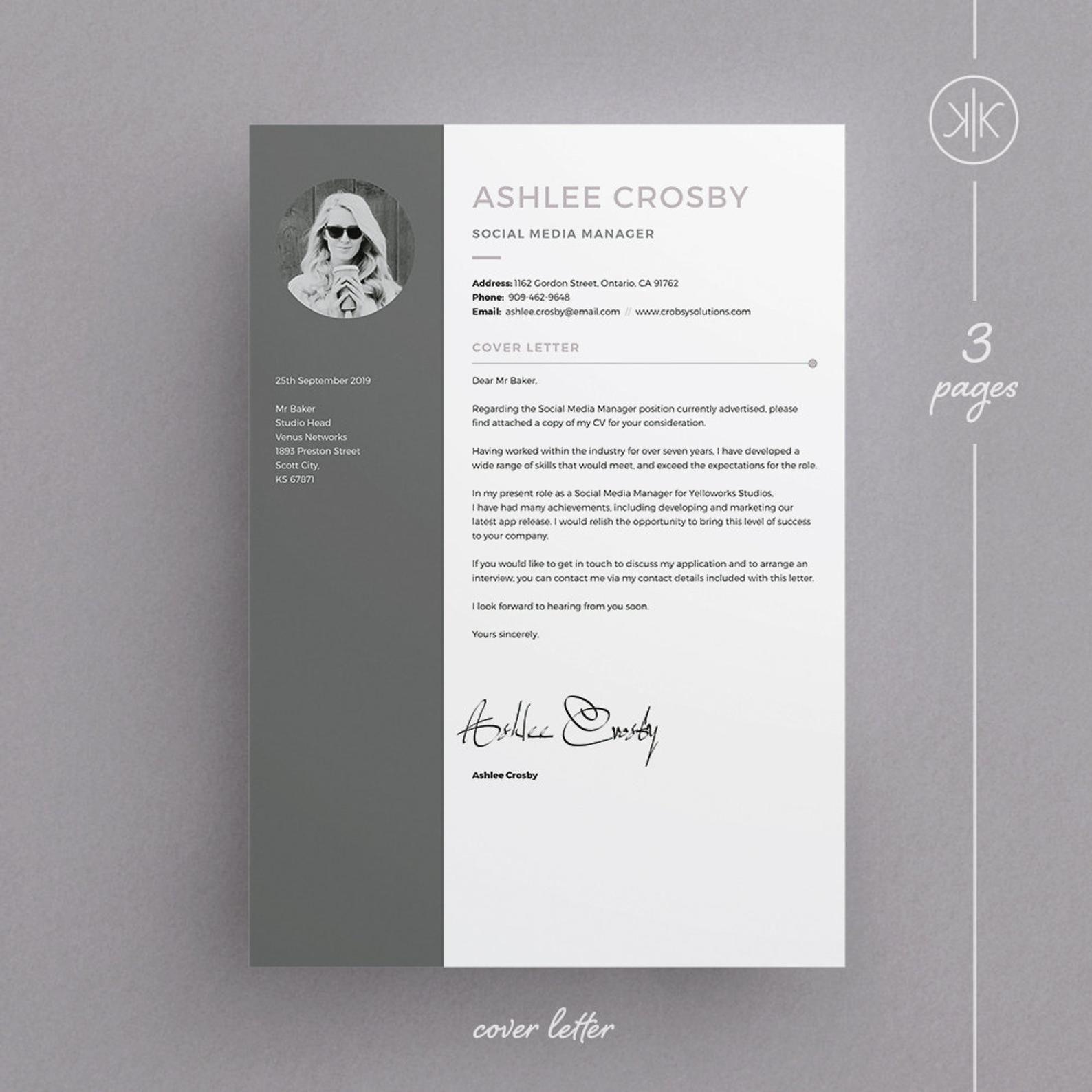 Ashlee Resume/CV Template Word InDesign Etsy