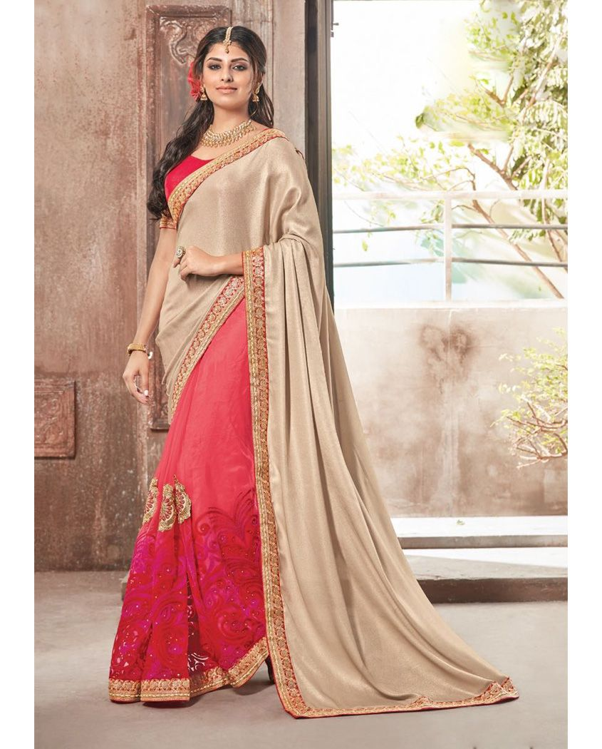 Half and half lycra party wear sari Heavy embroidery work on