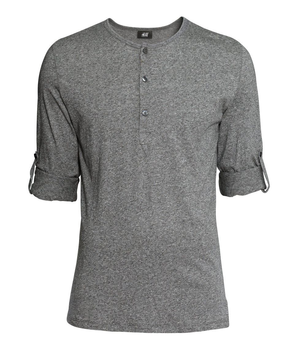 Black t shirt rolled up sleeves - Gray Henley Shirt With Buttons Long Sleeves And Roll Up Tab