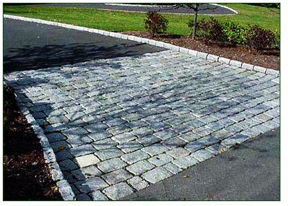 Asphalt Driveway Idea With Wide Paver Band Asphalt Driveway Driveway Paving Cobblestone Driveway