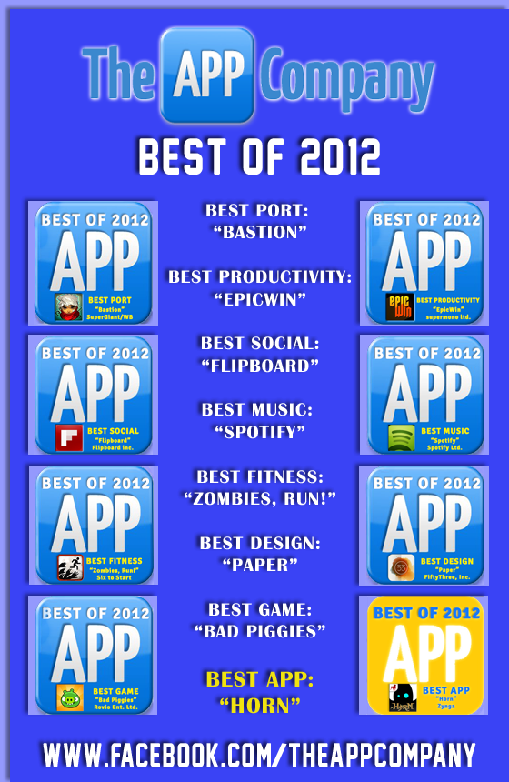 Top Apps of 2012 rated by The APP Company. Follow us on Facebook to see way more.