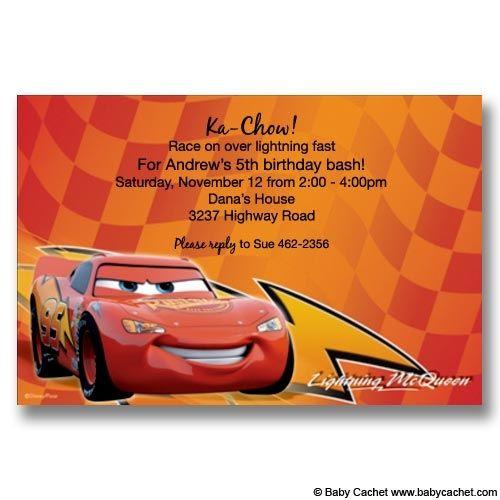 cars lightning mcqueen birthday invitations