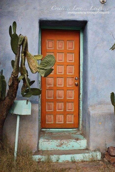 Orange Door Barrio Historico Tucson By Joyfulroots Orange Door Doors Behind The Green Door
