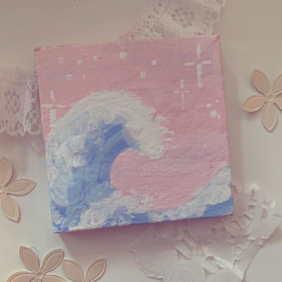 Shayla On Instagram A Lot Of People Have Requested This So I Painted The Great Wave Small Canvas Paintings Diy Art Painting Mini Canvas Art