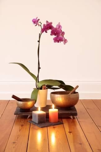 Photographic Print Orchids Candles And Singing Bowl By Cmfotoworks 24x16in Meditation Room Meditation Room Decor Meditation Rooms