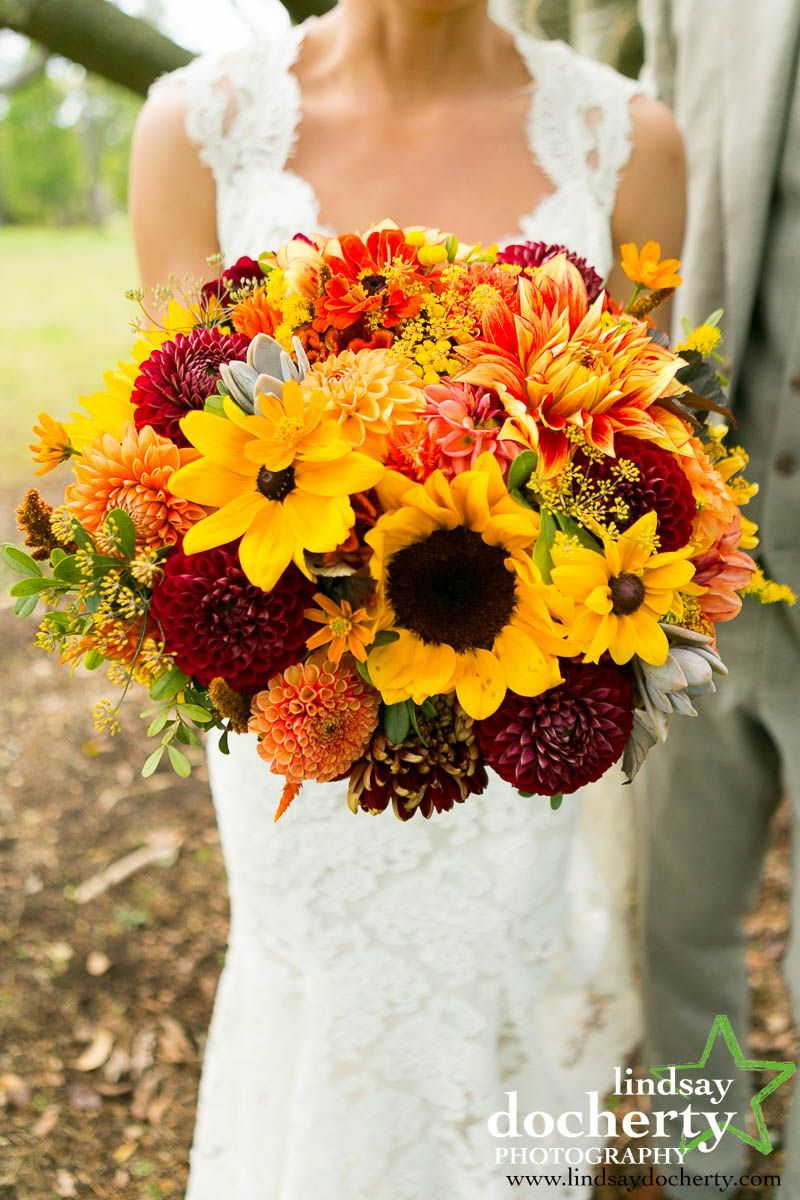 Autumn bridal bouquet in yellow, orange and red featuring
