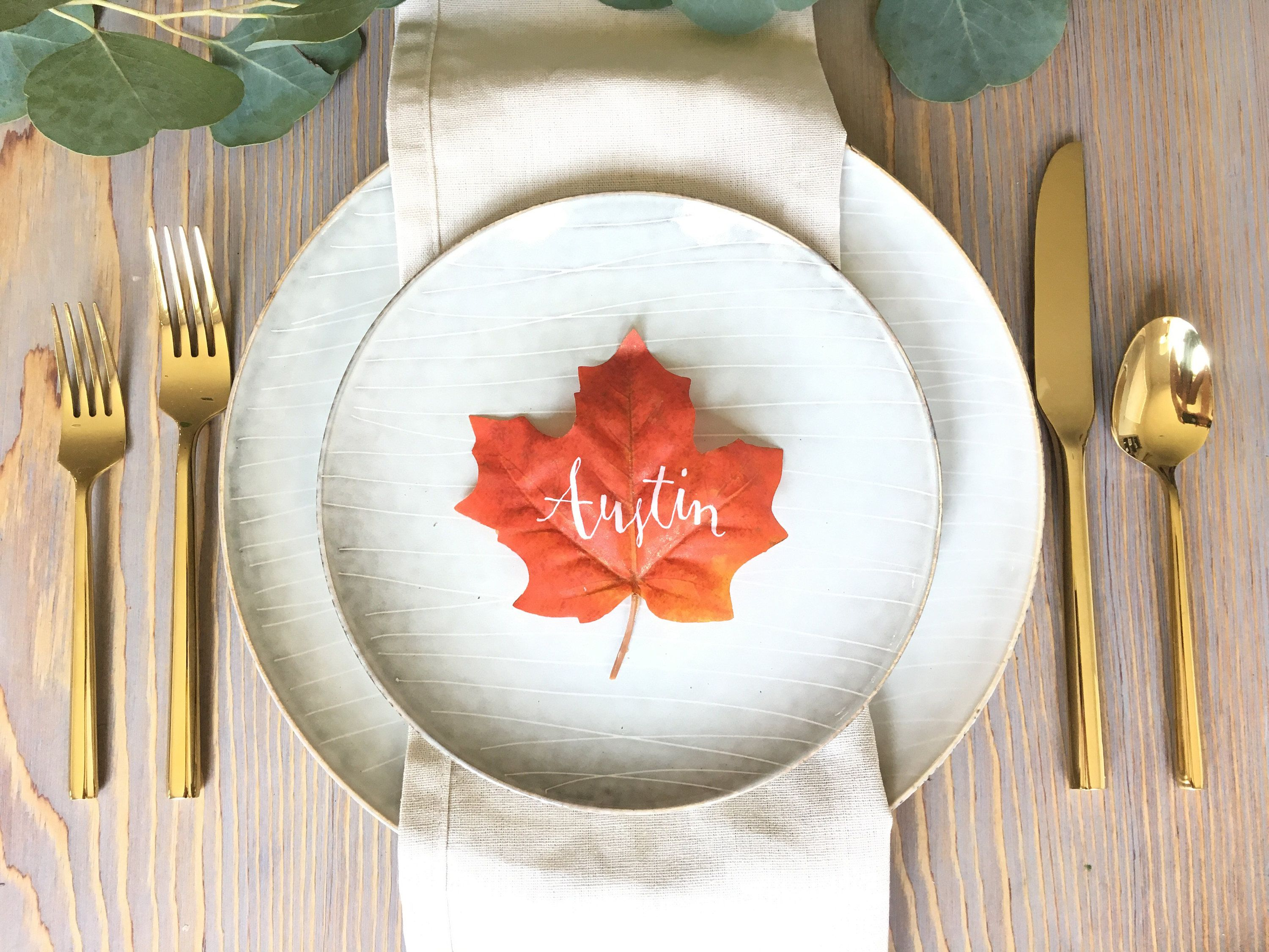 Fall Leaf Place Cards for Weddings | Place card, Reception and Place ...