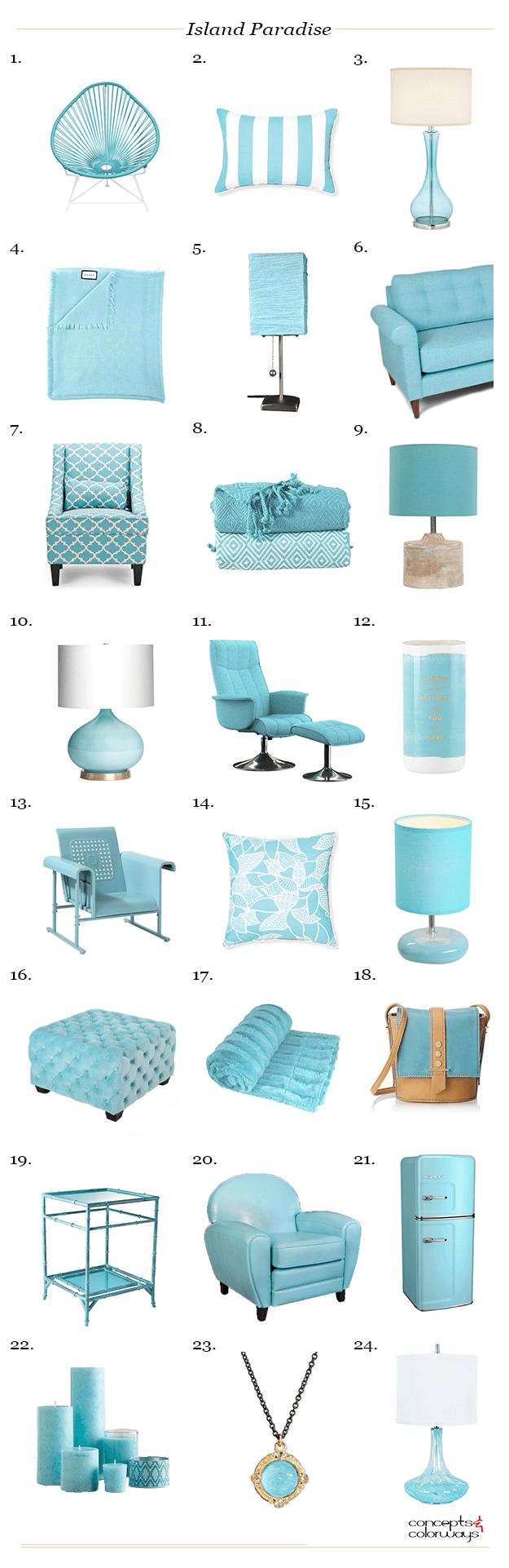 pantone island paradise, interior design product roundup, 2017 color trends, color for interiors, caribbean blue, light turquoise, aqua blue, tiffany blue, bright blue