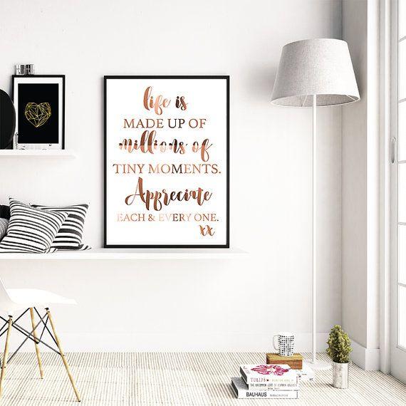 Silber oder Kupfer Spruch Inhale Exhale in A4 oder A3 Poster
