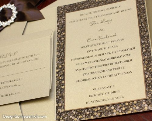 Bronze Embossed Pebble Wedding Pocket Fold Invitation Suite W Rhinestone Buckle
