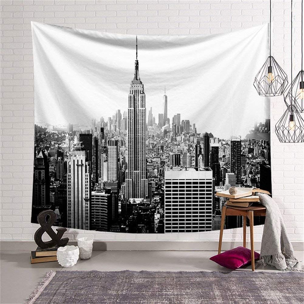 Black And White Empire State Building Tapestry Wall Hanging Nyc New York Skyline Cityscape Wall Da C Cor Decora Home Decor Tapestry Wall Hanging Retro Home Decor