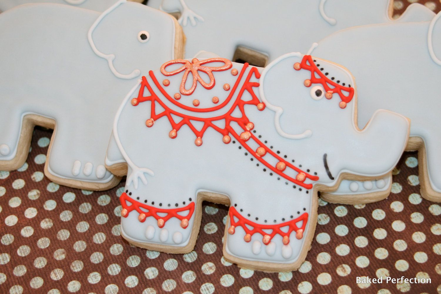 Indian outfitted elephant hand decorated sugar cookie