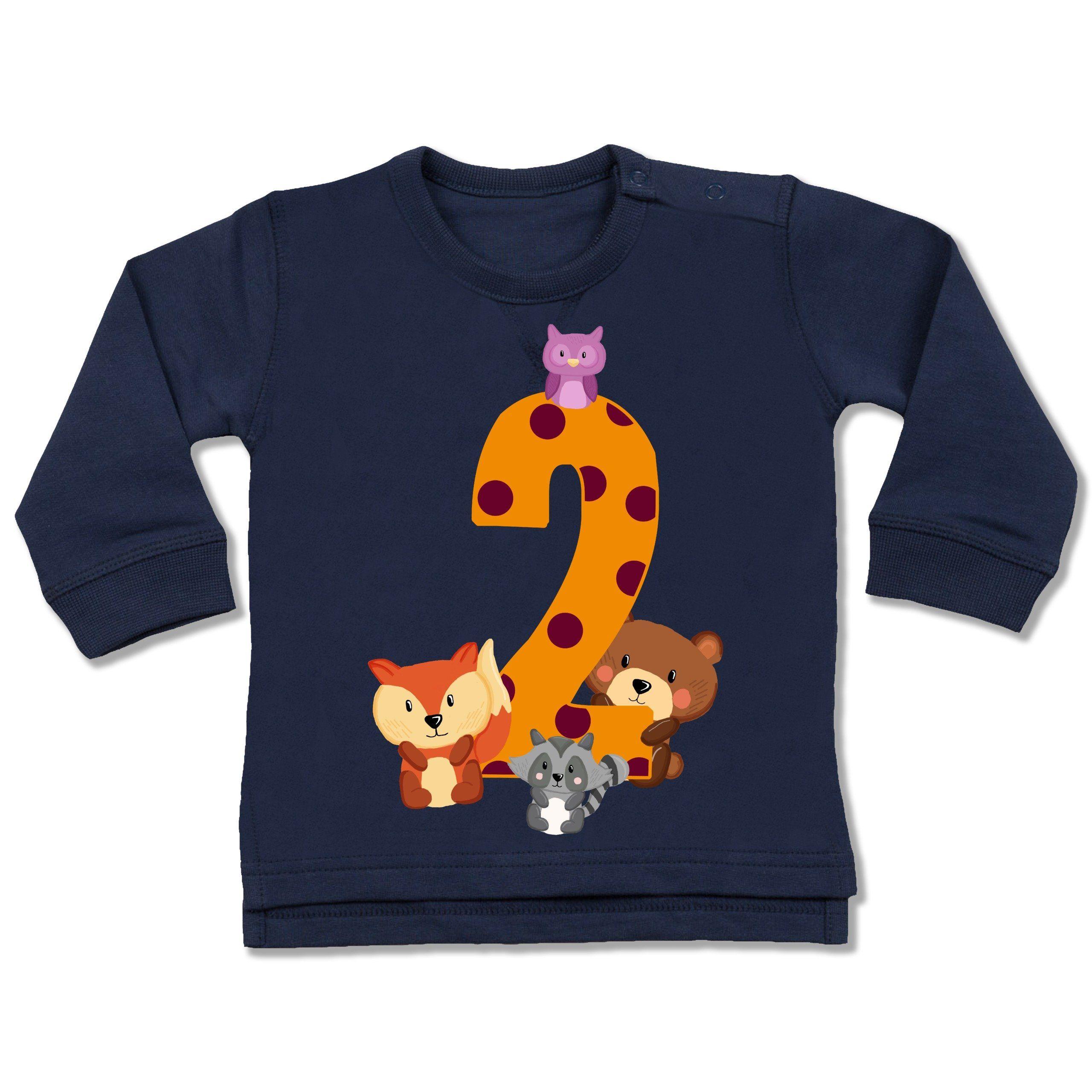 Shirtracer Geburtstag Baby 2 Geburtstag Waldtiere Baby Pullover Baby Pullover Waldtiere Pullover