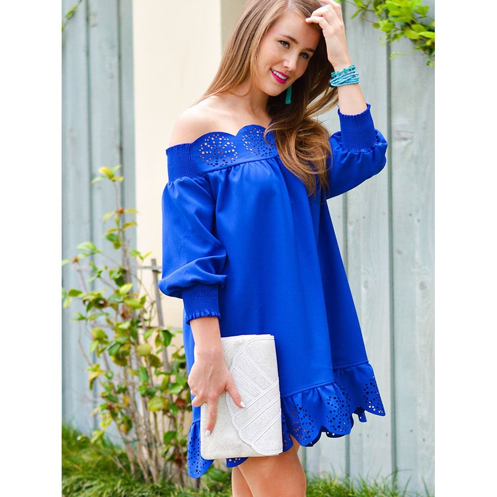 Blue off the shoulder laser cut out dress products pinterest