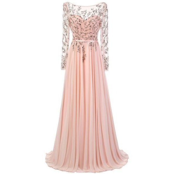 Beading Long Sleeves Floor-length A-line Chiffon Prom Dresses ...