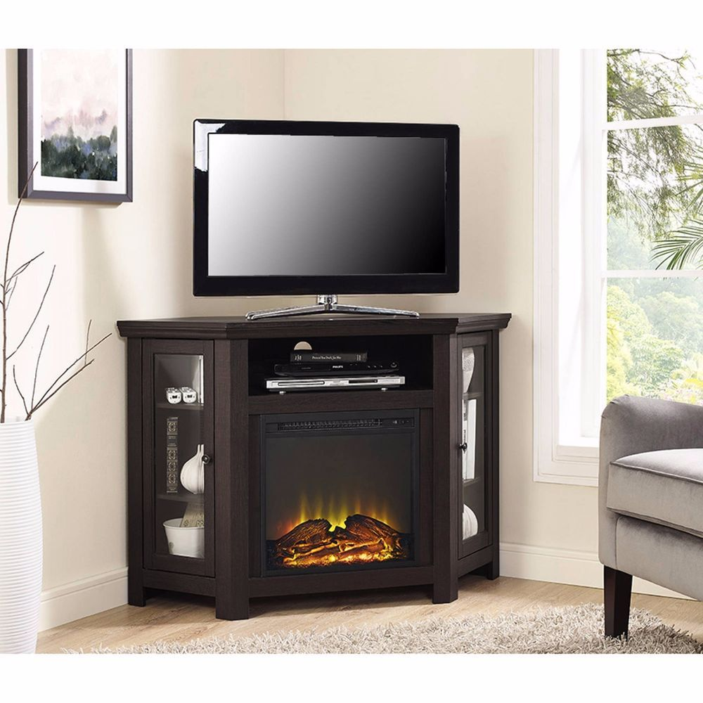 Corner Electric Fireplace TV Stand Double Doors Tempered