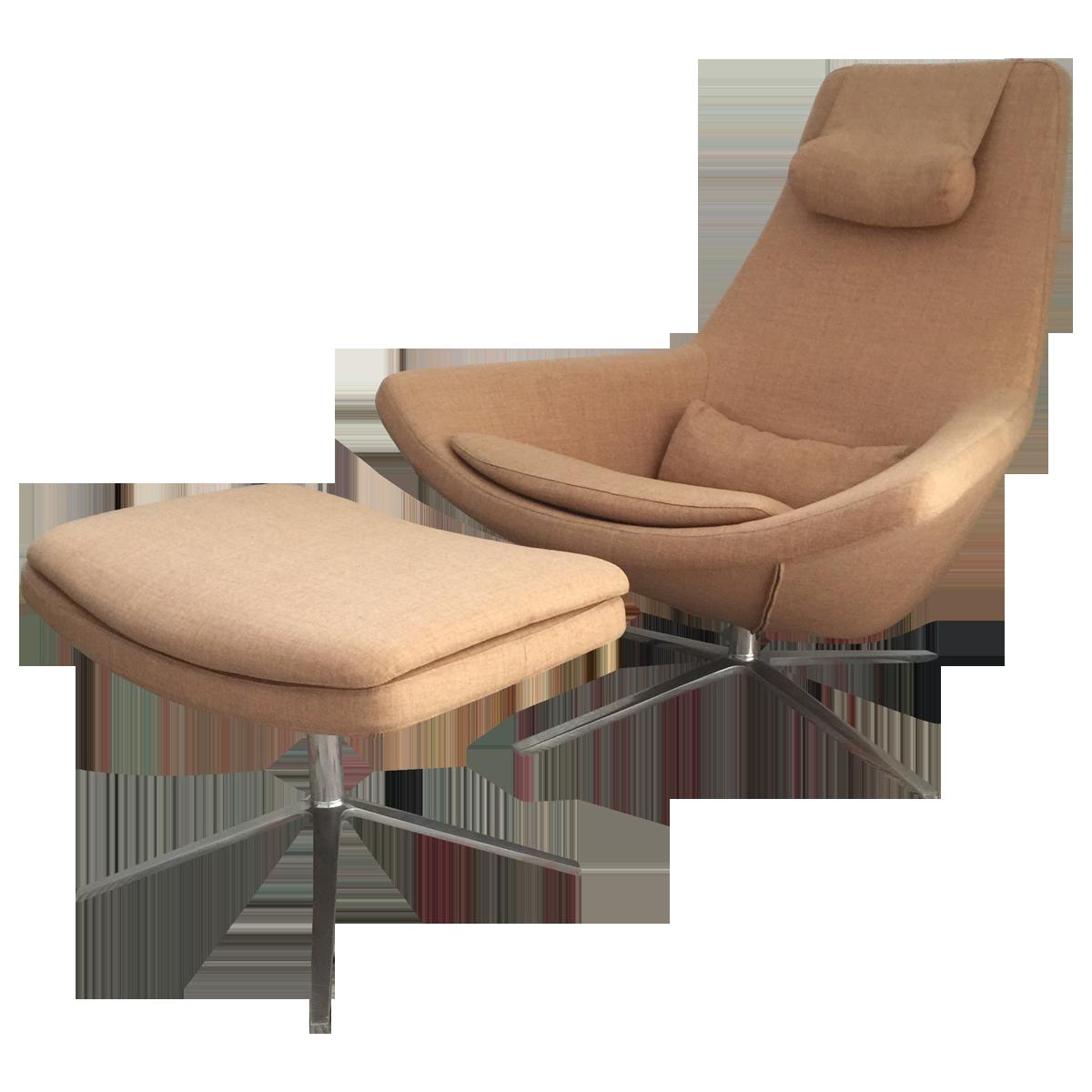 bu0026b italia swivel armchair and ottoman angled view