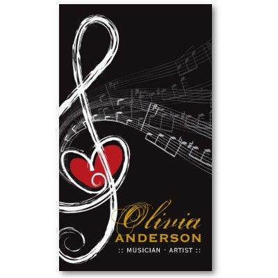 Treble love heart music musical notes symphony business card music love and music artist businesscard business card templates 3390 colourmoves Choice Image