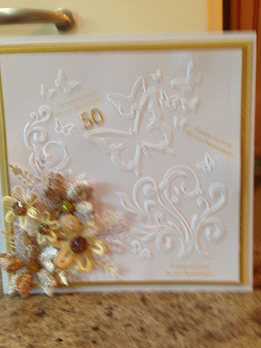 Golden wedding card ,embossed and tattered lace does and spellbinder dies.