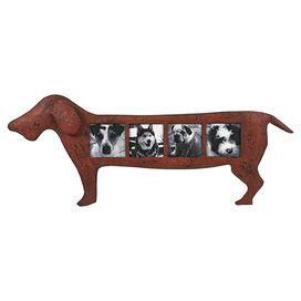 "Weathered iron picture frame with a dachshund silhouette.  Product: Picture frameConstruction Material: Iron, glass and MDFColor: Antiqued redFeatures:  Holds (4) 3.5"" x 3.5"" photoDimensions: 12"" H x 30"" W x 1.75"" D"