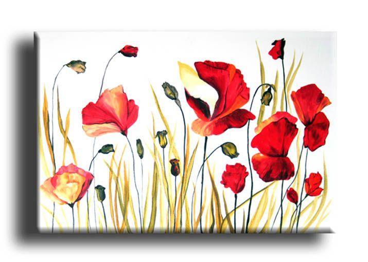 Quadro con fiori campo di papaveri cod433 €134 60x40 artemente ...