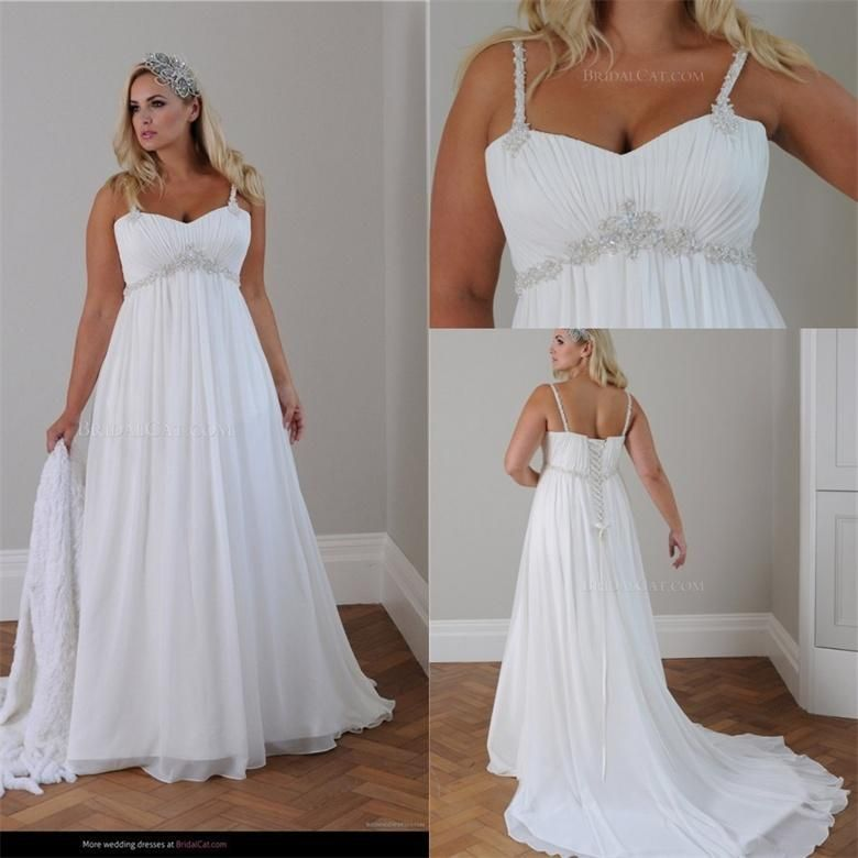 Plus Size Beach Wedding Dress 2015 Straps Pleats Chiffon Bedas