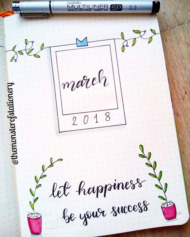 Bullet Journal March Cover Page Inspiration. #bulletjournal #bulletjournaling #bulletjournalideas