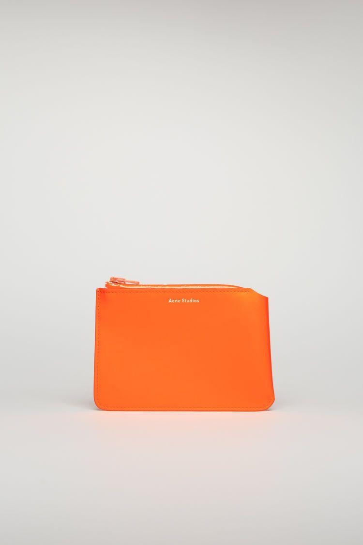 Acne studios logozip wallet fluo orange modesens in