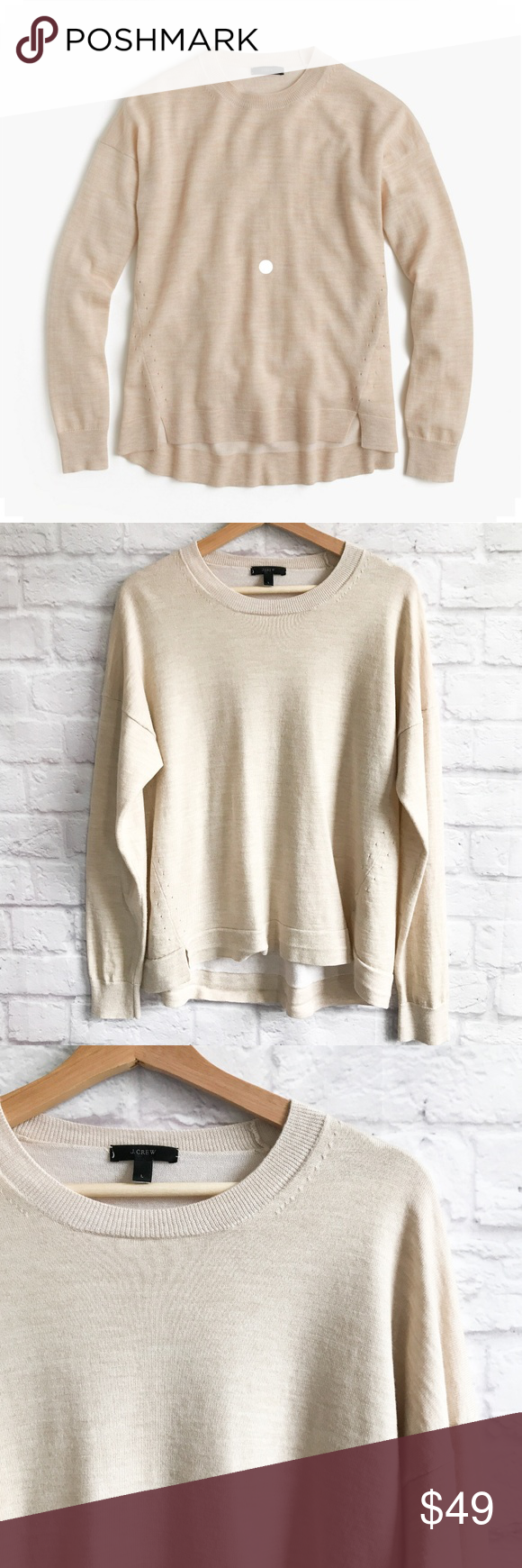 b5284cf4f6f J. Crew Lightweight Wool Tunic Sweater in Natural Comfy and soft wool-blend  sweater