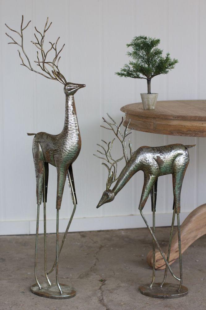 Large Set 2 Antique Silver Metal Deer Art Sculptures Reindeer 32 49 Tall Unbranded Antique Silver Metal Antiques Earthy Home Decor