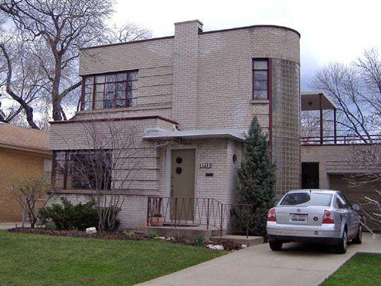 Art Moderne Home on Kenneth Avenue, Sauganash Historic District ...