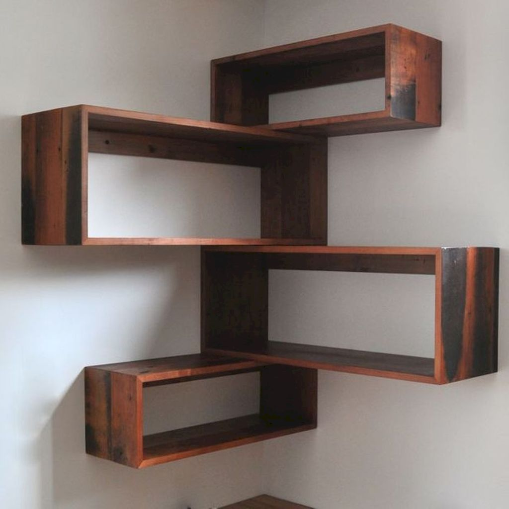 Nice 16 DIY Floating Corner Shelve for Living Room Decor Ideas