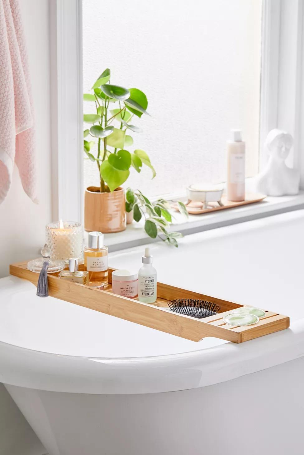 Bamboo Bath Tray Caddy Bath Tray Bath Tray Caddy Bathtub Tray [ 1463 x 976 Pixel ]