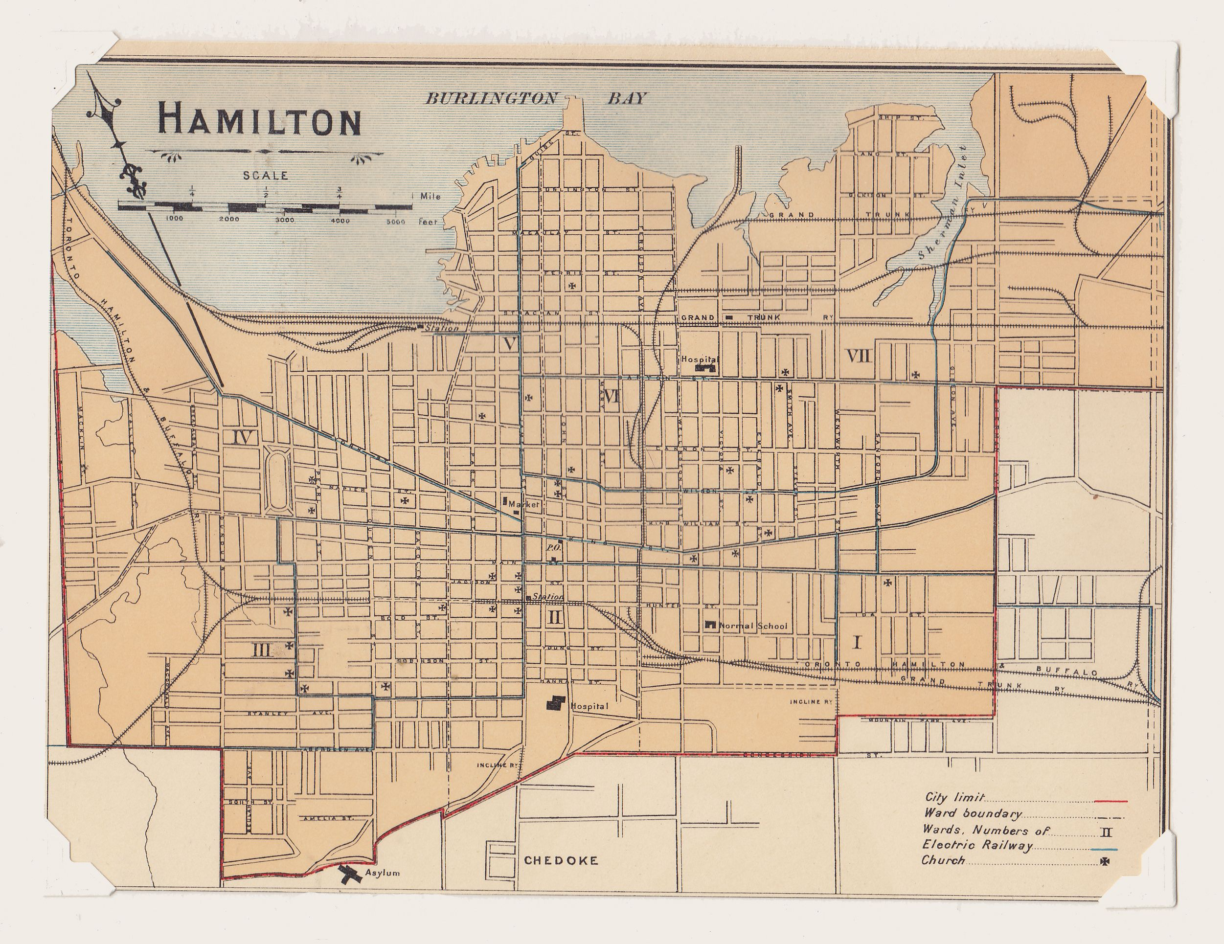 "Hamilton Street Map Antique Print 1900s (25) ""Hamilton"