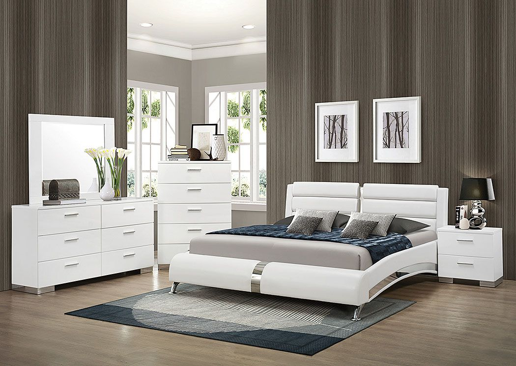A&M Discount Furniture White Queen Upholstered Bed, Dresser & Mirror ...