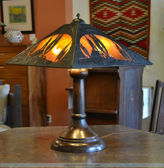 2eed0168d2067 Image detail for -... Stickley Art Pottery Mission Oak Grueby L lamp ...