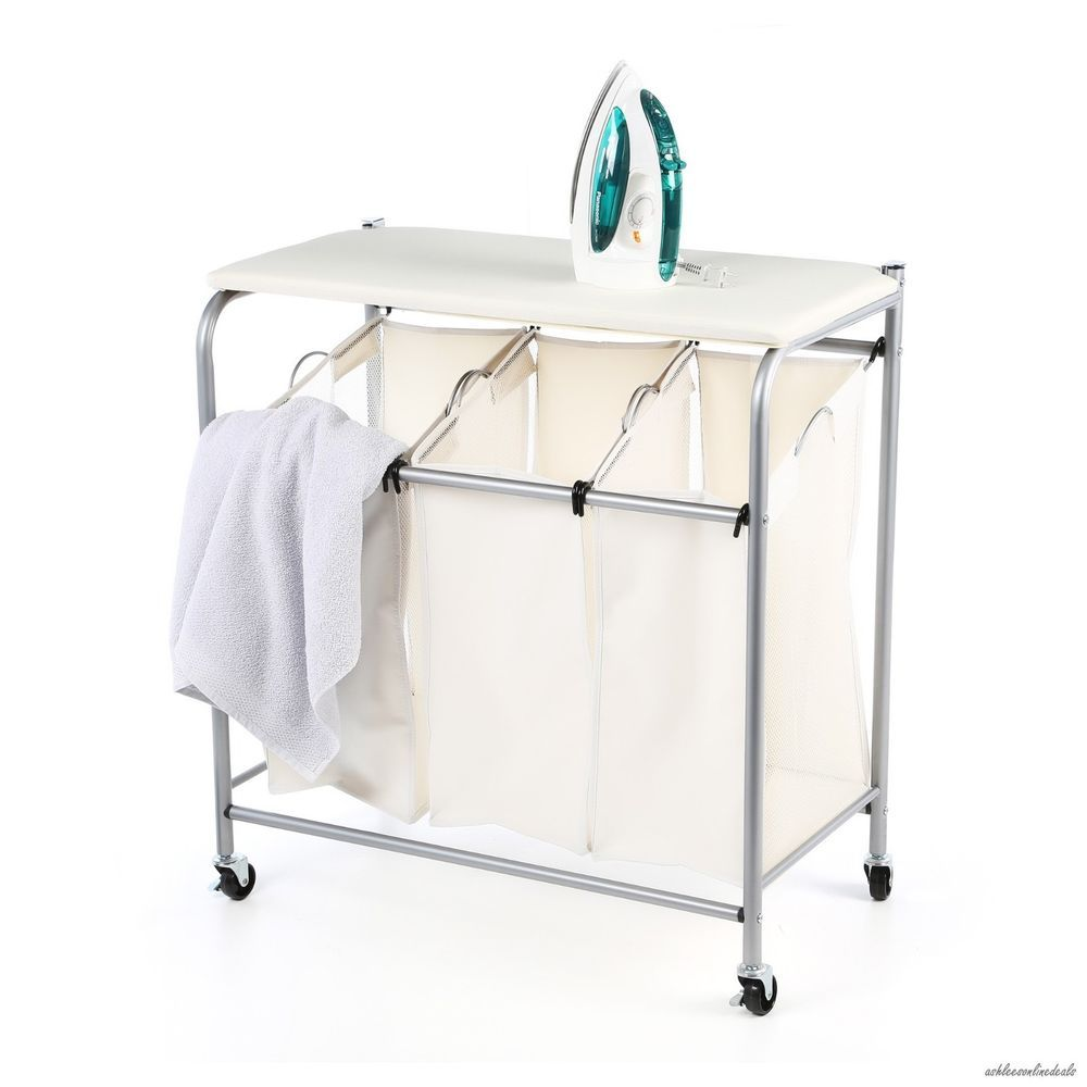 Laundry Cart Hamper Ironing Board Combo Bin Garment Clothes Sorter Basket Iron