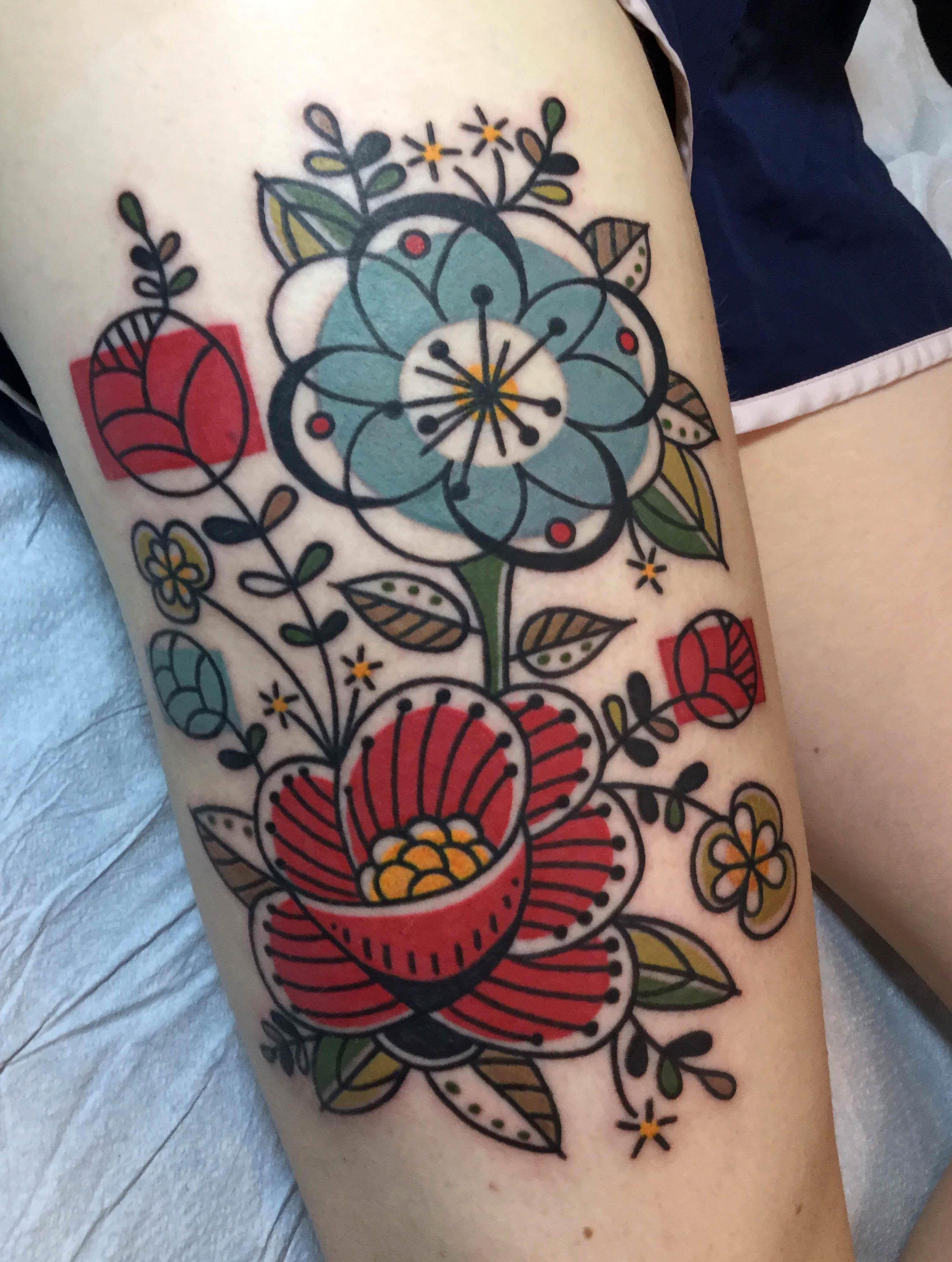 Floral Tattoo By Jen Trok At Speakeasy Custom Tattoo Chicago Il Evamigtattoos Tattoo Tattoos Speakeasy Tattoo Custom Tattoo