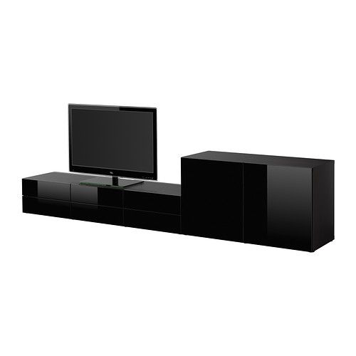 BESTÅ TV storage combination, black-brown, Tofta high-gloss/black black-brown/Tofta high-gloss/black 300x40x64 cm