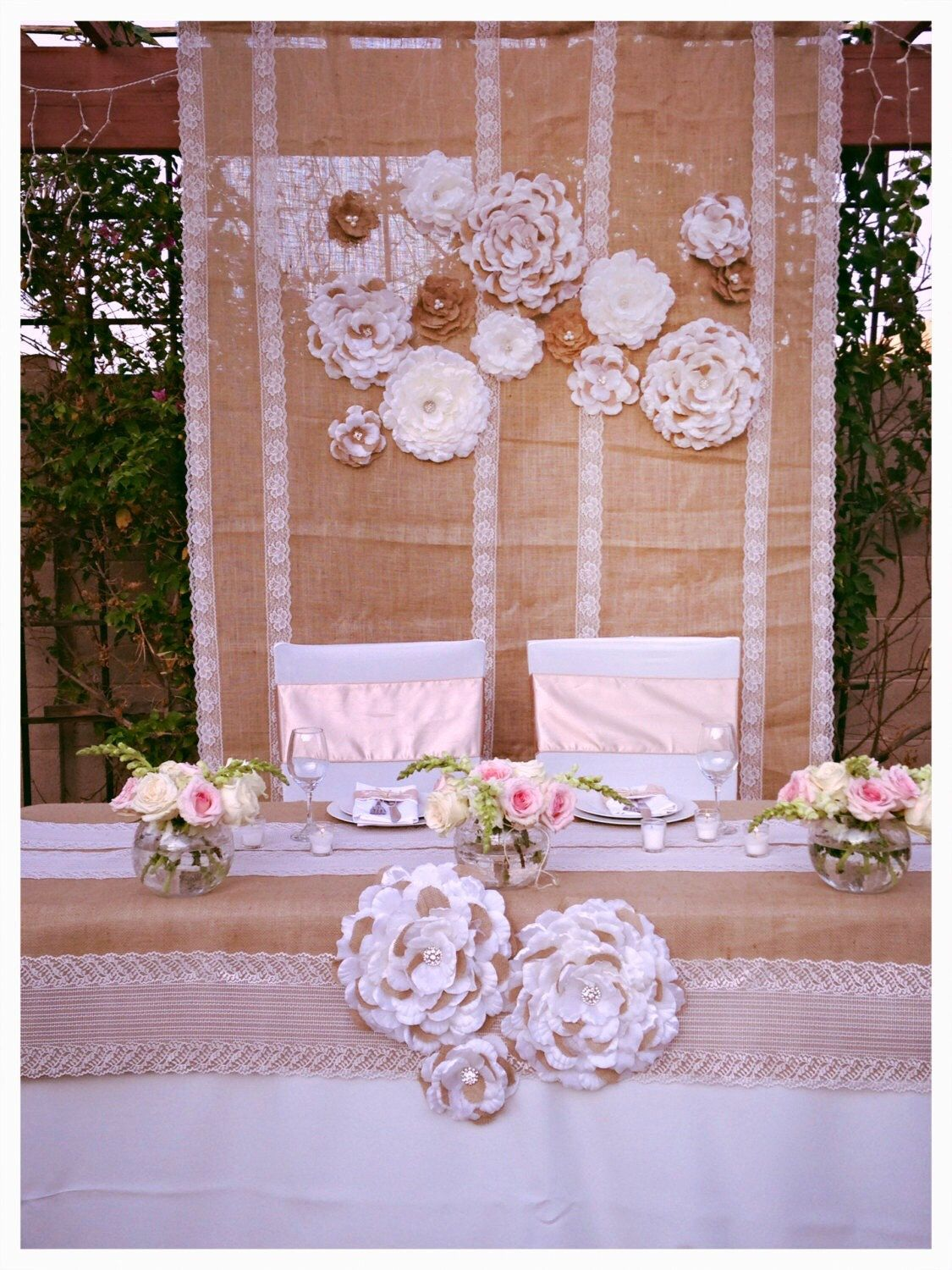 Wedding decorations backdrop  Burlap Lace Flowers Backdrop Set of  by LovelyLaceDesigns  Party